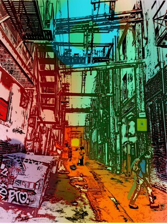 DUCOTE; Alley Cats, digital painting