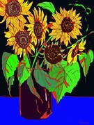 DUCOTE; Diane's Sunflowers; digital painting SOLD (additional prints available)