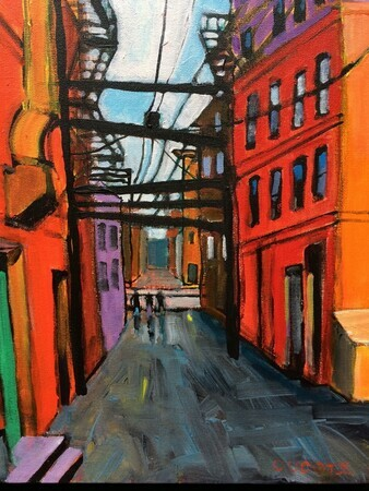 "DUCOTE; Downtown Eastside Alley, 14 x 11"", acrylic, framed"
