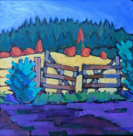 "DUCOTE; Old Farm Gate; acrylic on canvas, framed; 12x12"" SOLD"