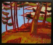 DUCOTE; Island Landscape; oil reverse painted on glass