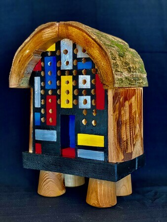 DUCOTE, Mondrian's Rustic Bee House, wood and paint S🔴LD