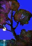 DUCOTE; Moonrise over the Salish Sea ; digital painting, limited edition 1/10 SOLD