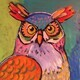 DUCOTE, Old Hooty Owl; acrylic on canvas SOLD