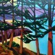 "DUCOTE; Salish Sea View; acrylic on canvas, framed; 16x16"" SOLD"