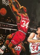 "DUCOTE; The Man (Charles Barkley); acrylic on wood cradle, framed; 24x18""; COMMISSION"