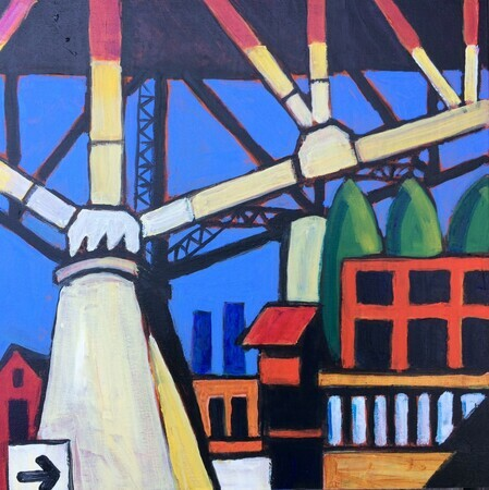 "DUCOTE; Under the Bridge at Granville Island; acrylic on canvas, framed; 16x16"" SOLD"