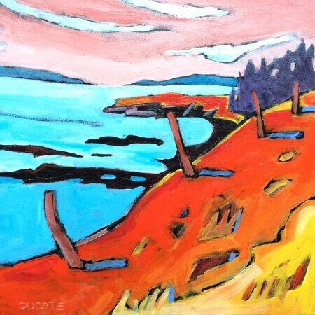 "DUCOTE; View from Gowlland Point; acrylic on canvas, framed; 16x16"" SOLD"