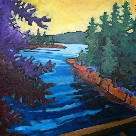 "DUCOTE; View from the Canal Bridge; acrylic on canvas; 24x24"" SOLD"