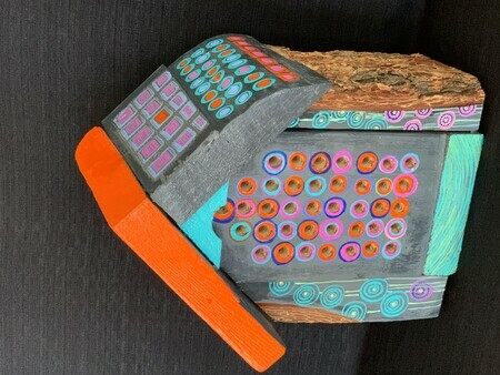 TAYLOR, A Nesting Box for Artistically Inclined Bees (with a nod too F. Hundertwasser), wood, screws, paint SOLD