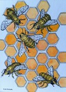 "TAYLOR; Bees at Work, ink and w/c on paper mounted on wooden cradle, finished with resin, 4x3"" SOLD"