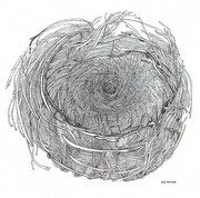 "TAYLOR; ; Nest #1; ink drawing on paper mounted on wooden cradle, finished with resin; 6x6""; SOLD at Pender Islands Refugee Support Group benefit"