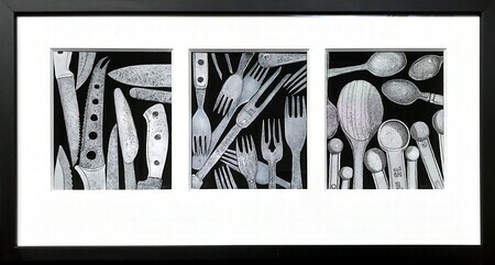 TAYLOR; Knives, Forks and Spoons, ink, watercolour and gouache