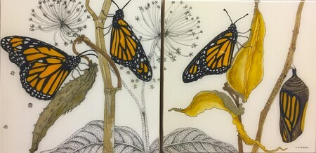 TAYLOR; Monarchs II, ink and watercolour on wooden panel finished with resin. SOLD