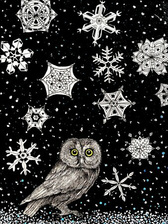 TAYLOR, Saw-whet Owl in the Snow, ink and acrylic on paper mounted on wooden cradle, 8 x 6  SOLD