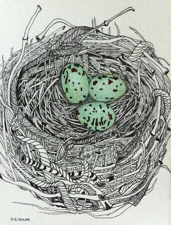 "TAYLOR; Small Nest #4; She Was Diligent in Recycling Her Finds; ink drawing on paper with w/c, on wooden cradle, finished with resin; 4""x3"" SOLD"