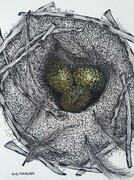 "TAYLOR; Small Nest for an Oologist; ink drawing on paper, mounted on cradle, finished with resin, 4"" x 3"" SOLD"